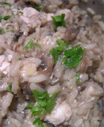 mushroom and chicken risotto