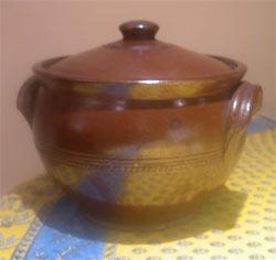 old stoneware casserole