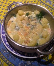 spinach and prawm gnocchi