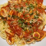 Recipe for squid in marinara sauce over spaghetti